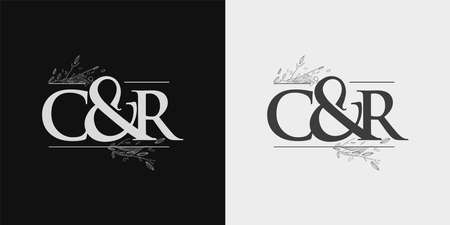 CR Initial logo, Ampersand initial Logo with Hand Draw Floral, Initial Wedding Font Logo Isolated on Black and White Background. Logó