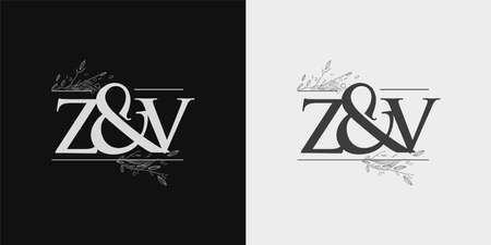ZV Initial logo, Ampersand initial Logo with Hand Draw Floral, Initial Wedding Font Logo Isolated on Black and White Background.