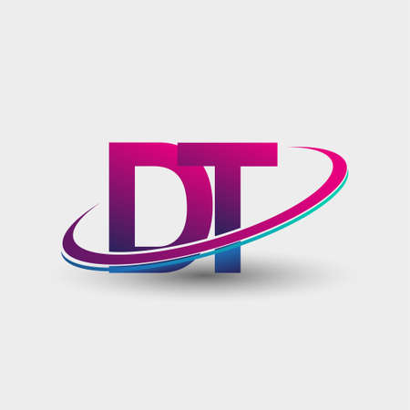 DT initial logo company name colored blue and magenta swoosh design, isolated on white background. vector logo for business and company identity.