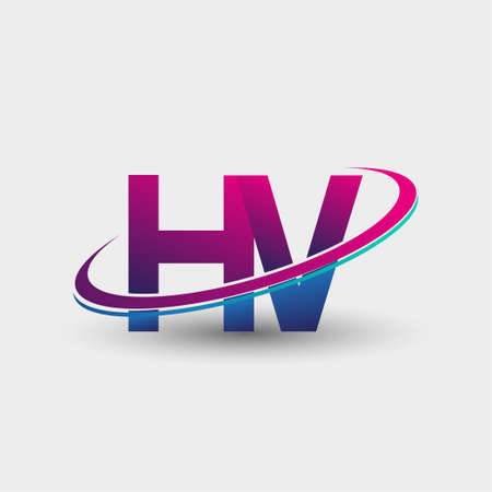 HV initial logo company name colored blue and magenta swoosh design, isolated on white background. vector logo for business and company identity. Logó