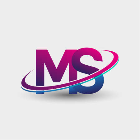 MS initial logo company name colored blue and magenta swoosh design, isolated on white background. vector logo for business and company identity. 向量圖像