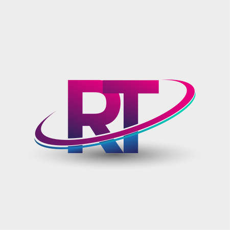 RT initial logo company name colored blue and magenta swoosh design, isolated on white background. vector logo for business and company identity.