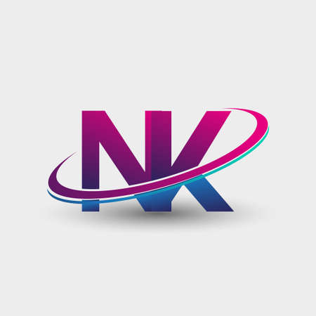 NK initial logo company name colored blue and magenta swoosh design, isolated on white background. vector logo for business and company identity.