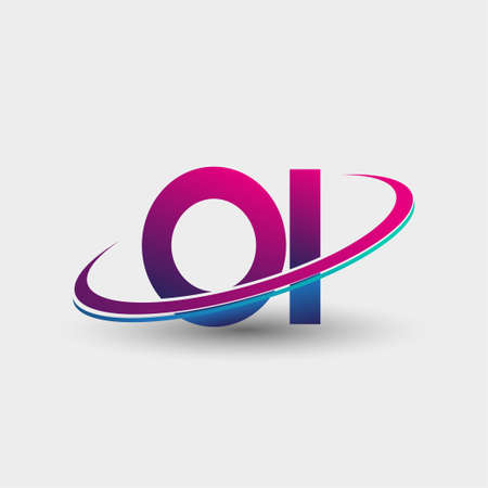 OI initial logo company name colored blue and magenta swoosh design, isolated on white background. vector logo for business and company identity. Logo