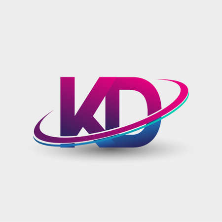 KD initial logo company name colored blue and magenta swoosh design, isolated on white background. vector logo for business and company identity. Logó