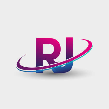 RJ initial logo company name colored blue and magenta swoosh design, isolated on white background. vector logo for business and company identity.