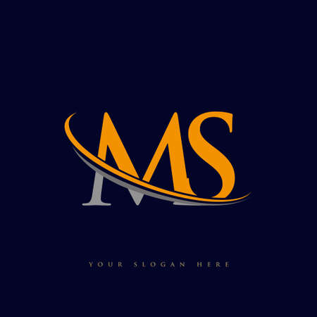 initial letter MS logotype company name yellow and grey swoosh design. isolated on dark background.