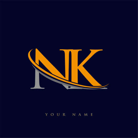 initial letter NK logotype company name yellow and grey swoosh design. isolated on dark background.