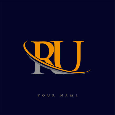 initial letter RU logotype company name yellow and grey swoosh design. isolated on dark background.