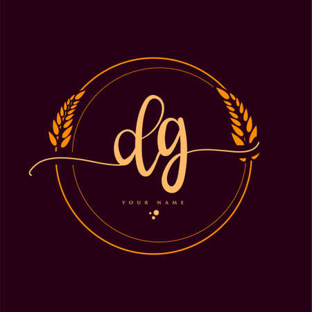 DG Initial handwriting logo. Hand lettering Initials logo branding with wreath, Feminine and luxury logo design isolated on elegant background.