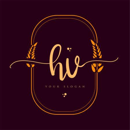 HV Initial handwriting logo. Hand lettering Initials logo branding with wreath, Feminine and luxury logo design isolated on elegant background. Logó