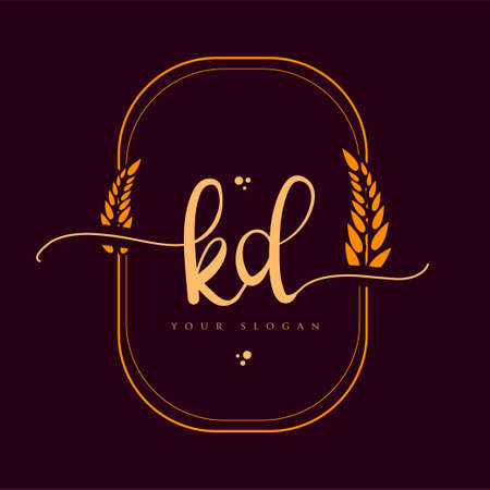 KD Initial handwriting logo. Hand lettering Initials logo branding with wreath, Feminine and luxury logo design isolated on elegant background. Logó