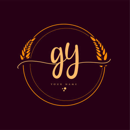 GY Initial handwriting logo. Hand lettering Initials logo branding with wreath, Feminine and luxury logo design isolated on elegant background. Logó