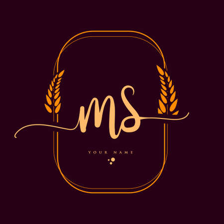 MS Initial handwriting logo. Hand lettering Initials logo branding with wreath, Feminine and luxury logo design isolated on elegant background. 向量圖像