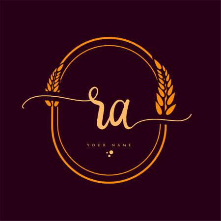 RA Initial handwriting logo. Hand lettering Initials logo branding with wreath, Feminine and luxury logo design isolated on elegant background.