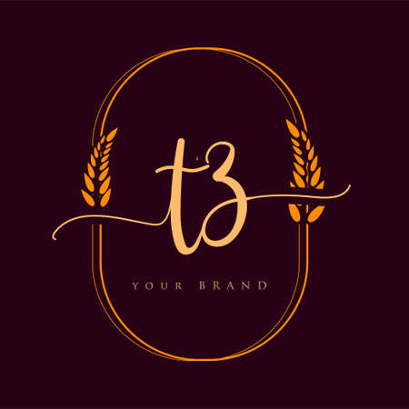 TZ Initial handwriting logo. Hand lettering Initials logo branding with wreath, Feminine and luxury logo design isolated on elegant background.