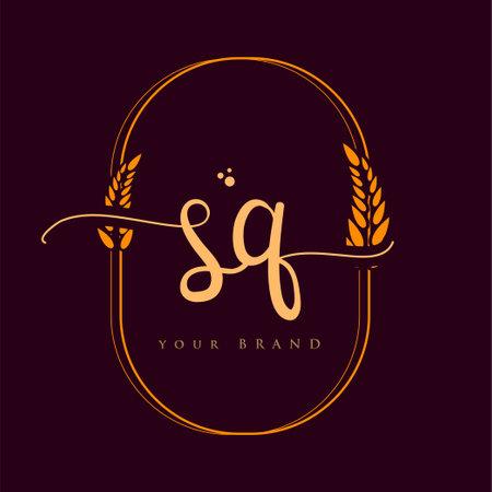 SQ Initial handwriting logo. Hand lettering Initials logo branding with wreath, Feminine and luxury logo design isolated on elegant background.
