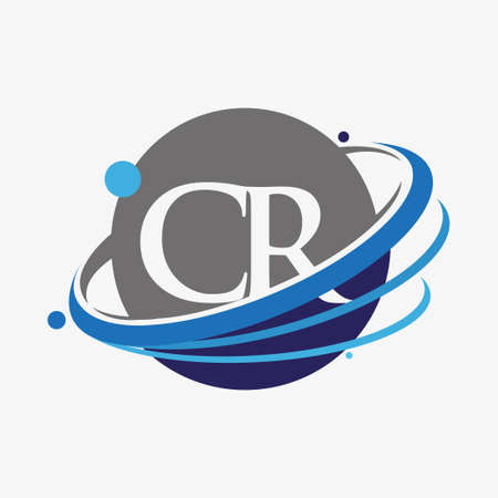 initial letter CR logotype company name colored blue and grey swoosh and globe design. isolated on white background.