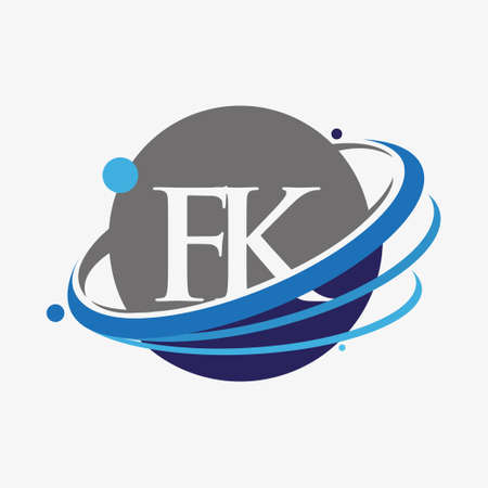 initial letter FK logotype company name colored blue and grey swoosh and globe design. isolated on white background.