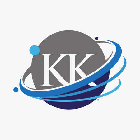 initial letter KK logotype company name colored blue and grey swoosh and globe design. isolated on white background.