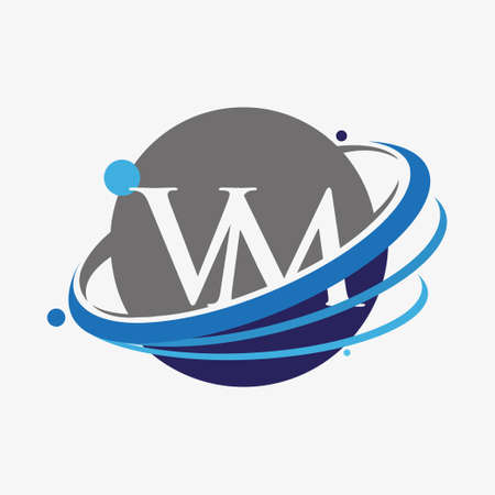 initial letter VM logotype company name colored blue and grey swoosh and globe design. isolated on white background. Logó