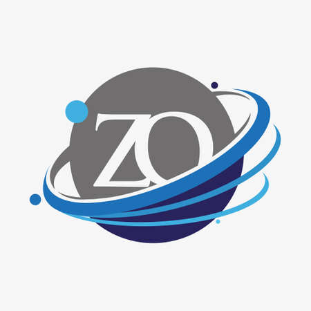 initial letter ZO logotype company name colored blue and grey swoosh and globe design. isolated on white background.