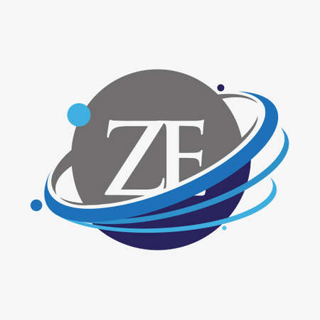 initial letter ZE logotype company name colored blue and grey swoosh and globe design. isolated on white background.