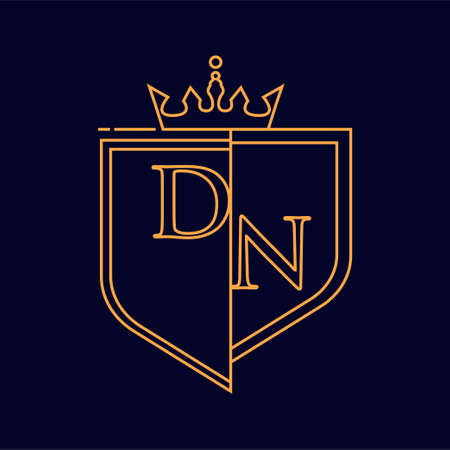 DN initial logotype, colored orange with emblem and crown, line art and classic design, isolated on dark background.