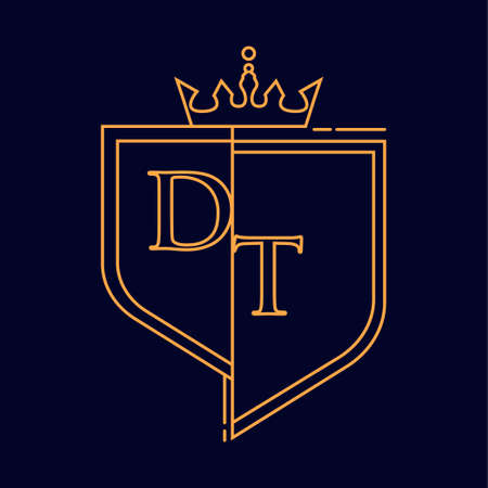 DT initial logotype, colored orange with emblem and crown, line art and classic design, isolated on dark background. Logó