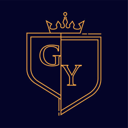 GY initial logotype, colored orange with emblem and crown, line art and classic design, isolated on dark background.