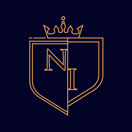 NI initial logotype, colored orange with emblem and crown, line art and classic design, isolated on dark background.