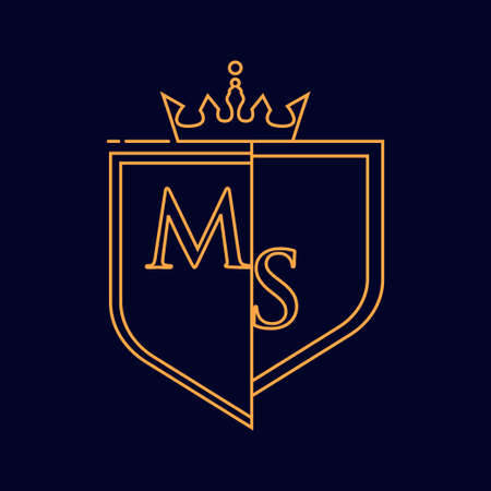 MS initial logotype, colored orange with emblem and crown, line art and classic design, isolated on dark background.