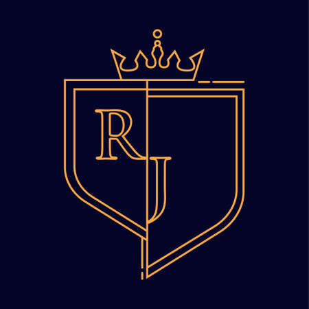 RJ initial logotype, colored orange with emblem and crown, line art and classic design, isolated on dark background.
