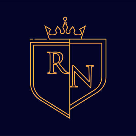 RN initial logotype, colored orange with emblem and crown, line art and classic design, isolated on dark background.