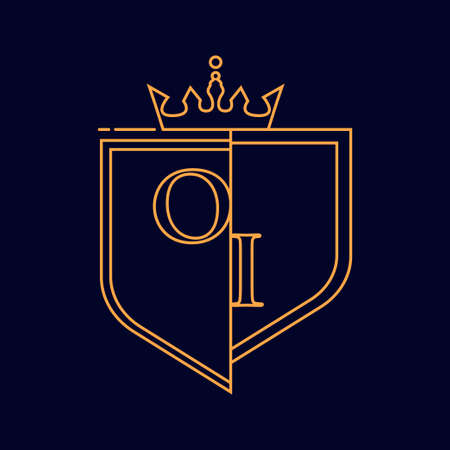 OI initial logotype, colored orange with emblem and crown, line art and classic design, isolated on dark background.