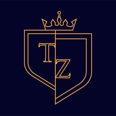 TZ initial logotype, colored orange with emblem and crown, line art and classic design, isolated on dark background.