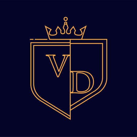 VD initial logotype, colored orange with emblem and crown, line art and classic design, isolated on dark background.