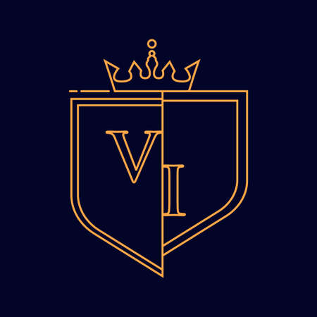 VI initial logotype, colored orange with emblem and crown, line art and classic design, isolated on dark background.