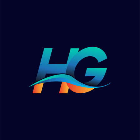 Initial letter HG company name blue and orange color swoosh design. vector logotype for business and company identity.