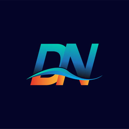 Initial letter logo DN company name blue and orange color swoosh design. vector logotype for business and company identity.