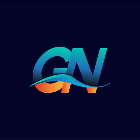 Initial letter logo GN company name blue and orange color swoosh design. vector logotype for business and company identity.