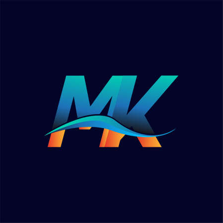 Initial letter logo MK company name blue and orange color swoosh design. vector logotype for business and company identity.