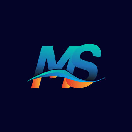 Initial letter logo MS company name blue and orange color swoosh design. vector logotype for business and company identity.
