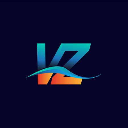 Initial letter logo VZ company name blue and orange color swoosh design. vector logotype for business and company identity.
