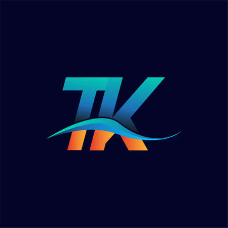 Initial letter logo TK company name blue and orange color swoosh design. vector logotype for business and company identity.