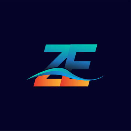 Initial letter logo ZE company name blue and orange color swoosh design. vector logotype for business and company identity.
