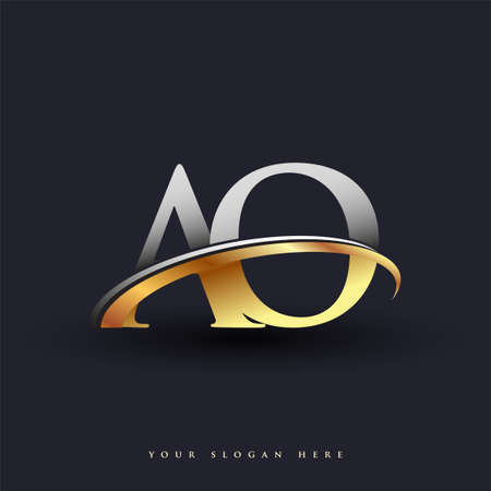 AO initial logo company name colored gold and silver swoosh design, isolated on white background. vector logo for business and company identity.