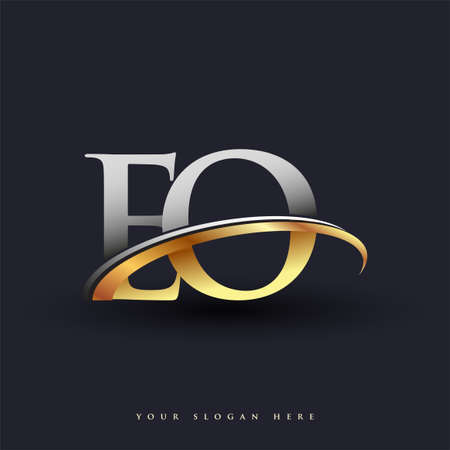 EO initial logo company name colored gold and silver swoosh design, isolated on white background. vector logo for business and company identity.