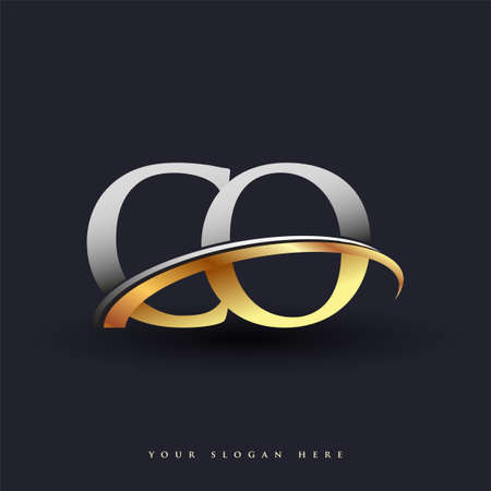 CO initial logo company name colored gold and silver swoosh design, isolated on white background. vector logo for business and company identity. Ilustração