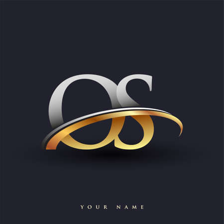 OS initial logo company name colored gold and silver swoosh design, isolated on white background. vector logo for business and company identity.